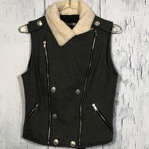 SALE Forever 21 Gray Vest Faux Wool Collar Sz L